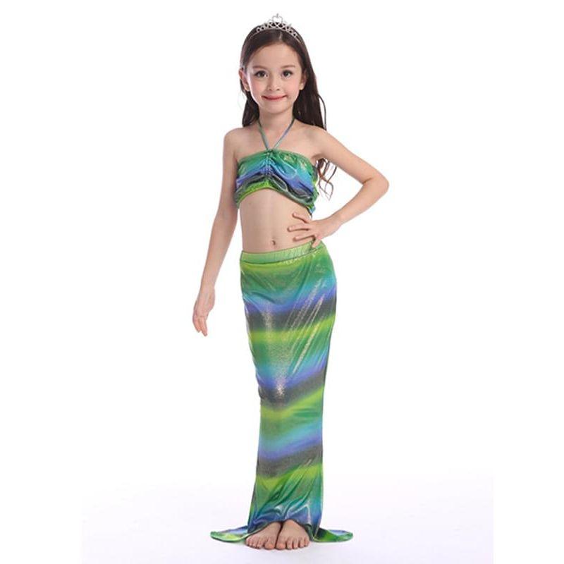 Kiskissing multicolor Mermaid Style 3-piece Swimwear Set Elastic Top Shorts Bottom for Girls the model show wholesale kids swimwear
