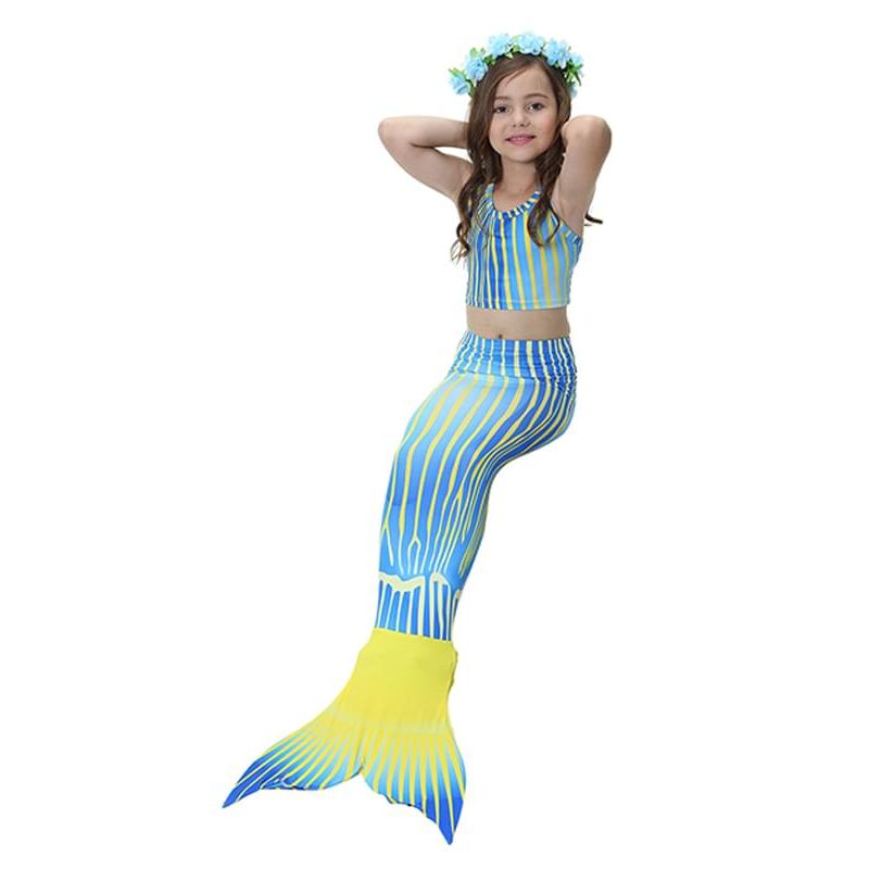 Kiskissing 3-piece blue Swimwear Set Elastic Top Shorts Mermaid Bottom for Girls the model show wholesale kids swimwear