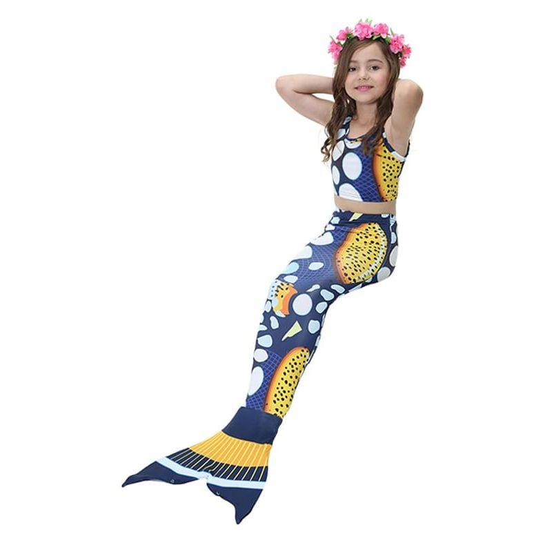 Kiskissing Stylish 3-piece deep blue Swimwear Set Camisole Shorts Mermaid Bottom for Girls the model show wholesale kids swimwear