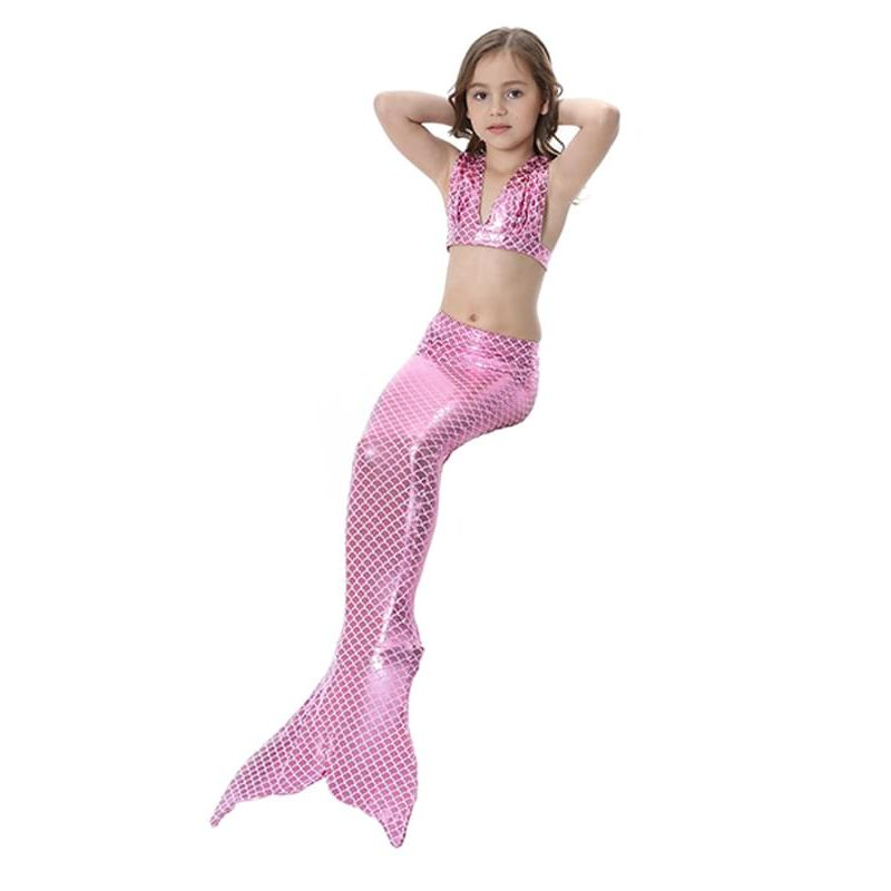 Kiskissing 3-piece pink Bikini Swimwear Set Top Fish Scale Shorts Bottom for Girls the model show wholesale kids swimwear