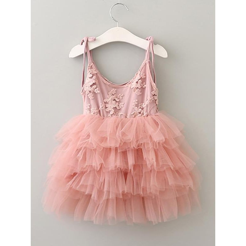 Lace Ruffled Tulle Princess Tutu Flip Dress for Toddlers Girls