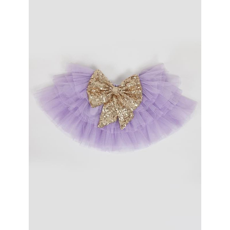 Big Bow Sequins Layered Ruffled Tulle Tutu Skirt for Toddlers Girls