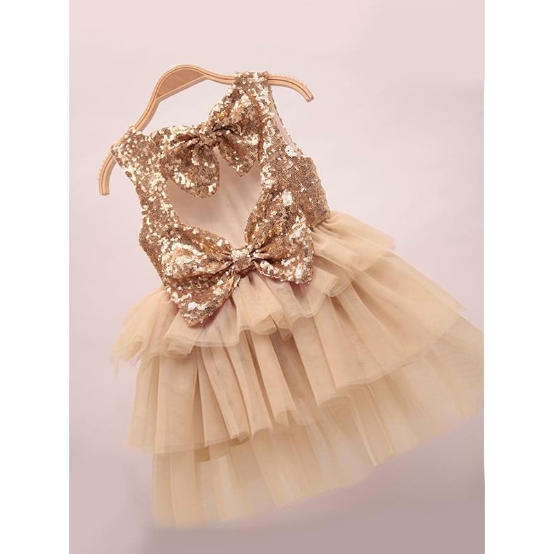 Kiskissing beige Sequins Paneled Ruffled Layered Tulle Princess Tutu Flip Dress for Toddlers Girls wholesale princess dresses