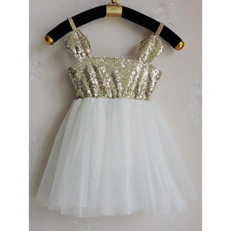 Kiskissing Sequins Paneled Ruffled Tulle Princess Tutu Straps Flip Dress for Toddlers Girls wholesale princess dresses