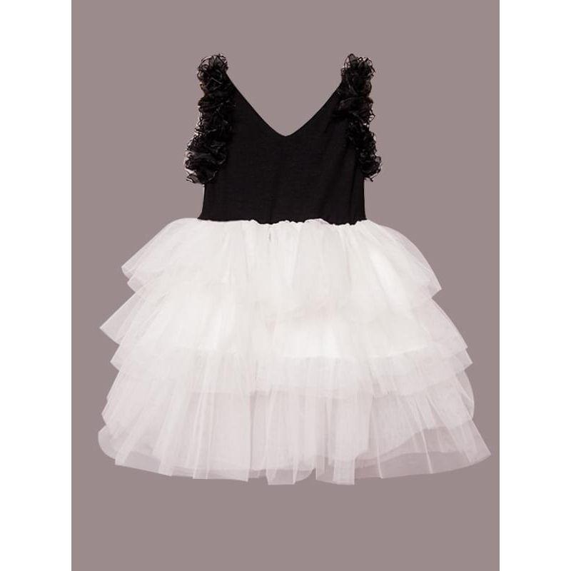 Kiskissing Flounced Paneled Ruffled Tulle Princess Tutu Flip Dress for Toddlers Girls wholesale princess dresses