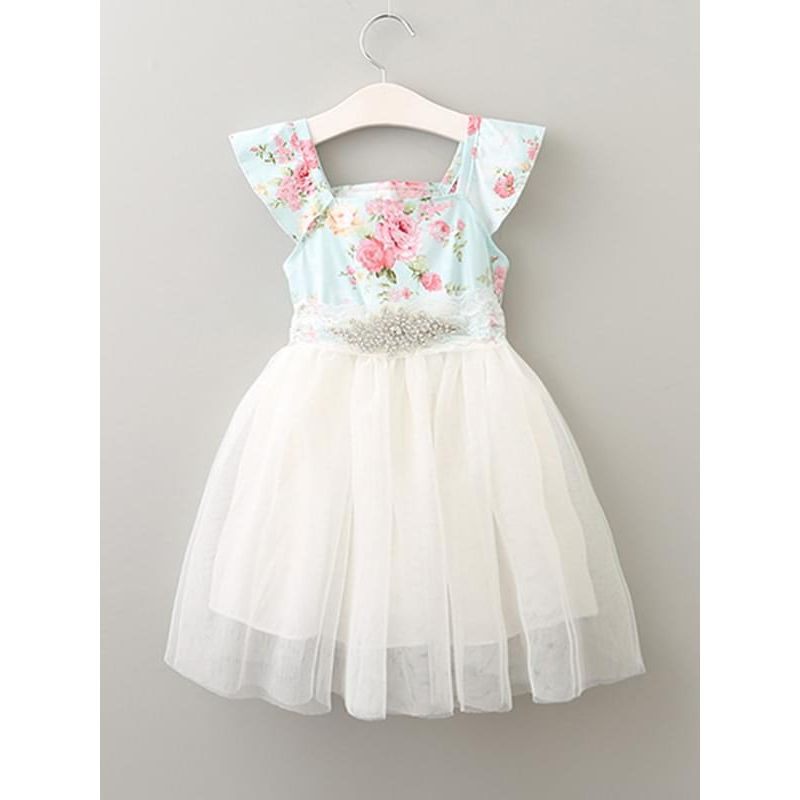 Kiskissing Flowers Printed Sleeveless Cotton Tutu Princess Dress for Toddlers Girls the obverse side wholesale princess dresses