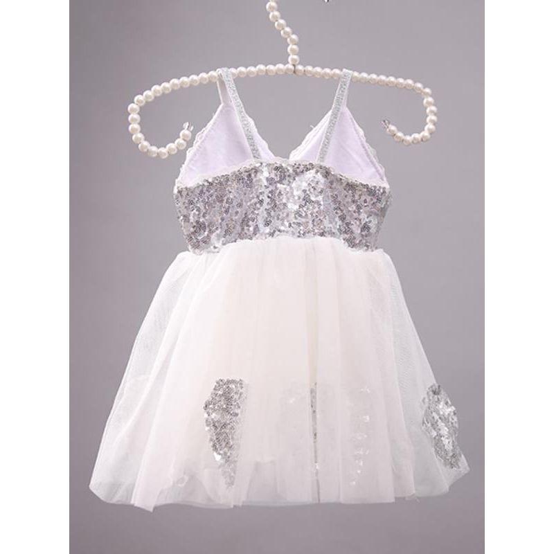 Kiskissing Sequins Paneled Sleeveless Tulle Ruffled Princess Flip Dress for Toddlers Girls the obverse side wholesale princess dresses