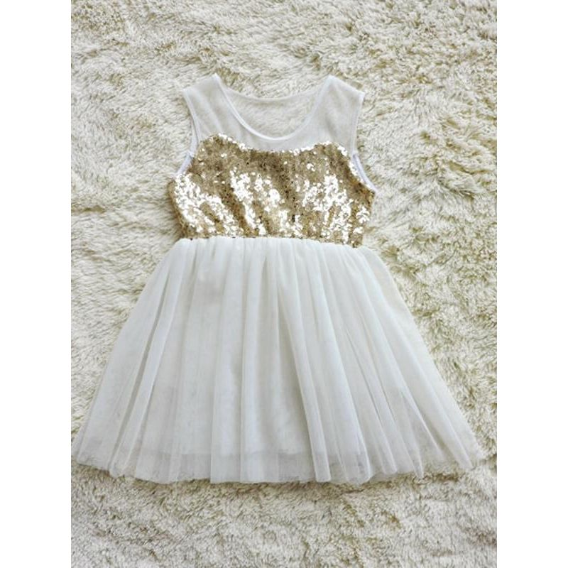 Kiskissing beige Sequins Paneled Sleeveless Mesh Tulle Ruffled Princess Flip Dress for Toddlers Girls wholesale princess dresses