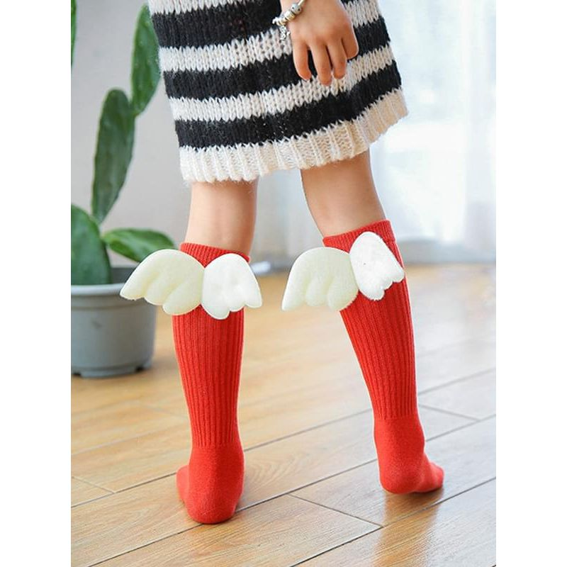 Kiskissing red Wings Knee-high Hand-knit Socks for Baby Toddler Kids wholesale kids accessories