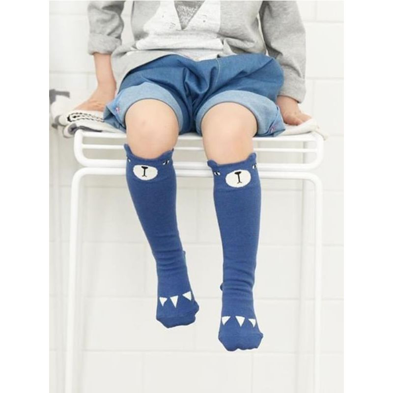 Kiskissing Bear Pattern Cotton Knee-high Jersey Socks for Baby Toddler wholesale childrens accessories