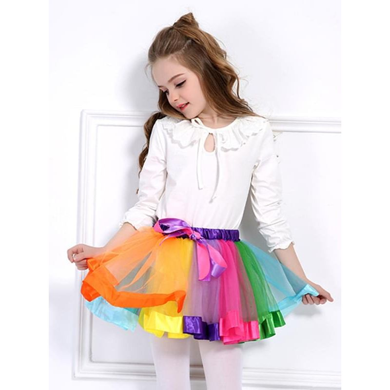 Kiskissing Colorful Rainbow Pattern Tulle Tutu Skirt for Toddler Girls Dance Wear the model show wholesale kids clothing