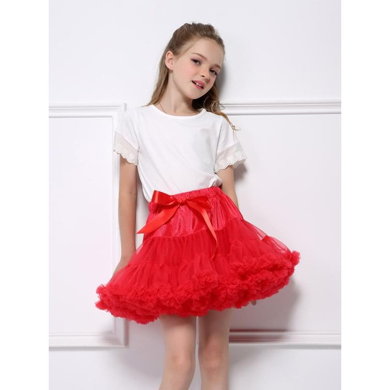 efabc1309e Kiskissing red Solid Color Ruffled Dancing Tutu Pettiskirt for Baby Toddler  Girls the model show toddler
