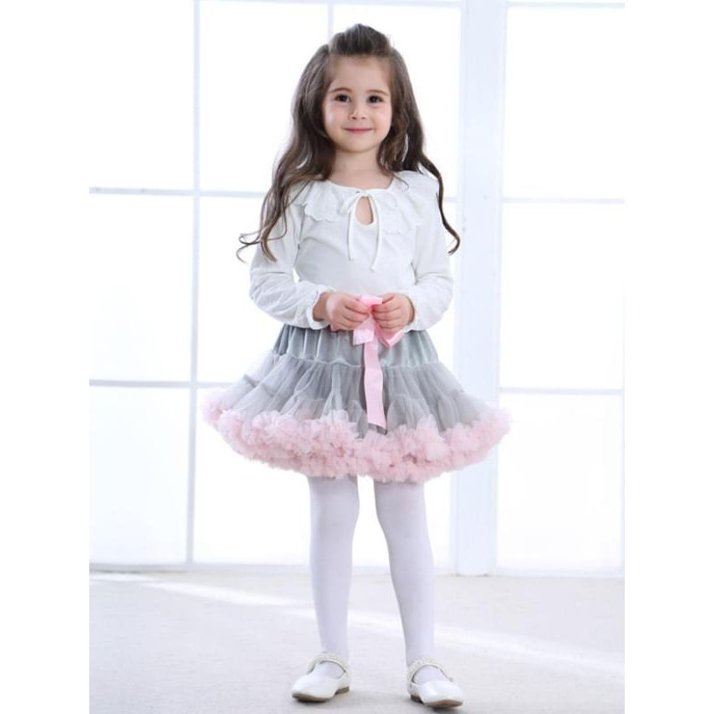 Kiskissing grey Tulle Ruffled Princess Dancing Pettiskirt for Baby Toddler Girls Kids the model show trendy kids wholesale clothing