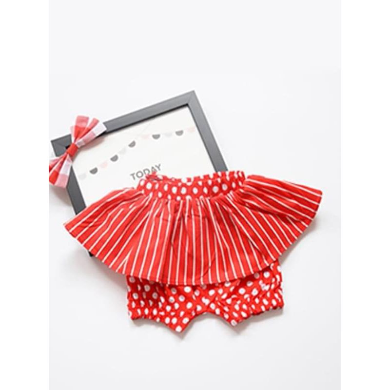 One-piece Cute Spots Stripes Printed Skirt Shorts for Baby Girls