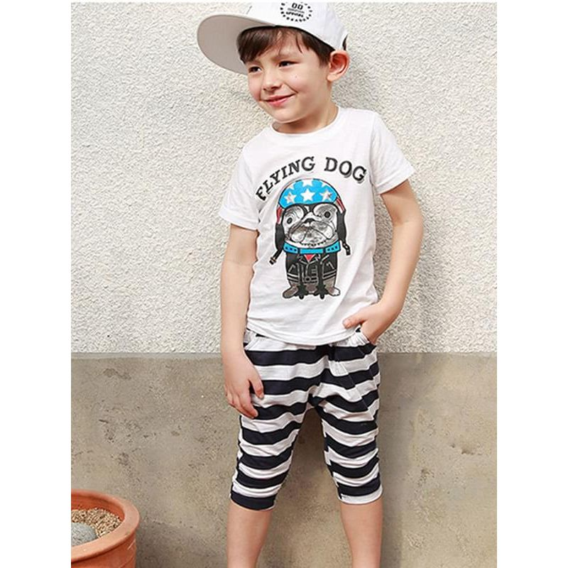 Kiskissing 2-piece Outfit Set Cartoon Tee Striped Shorts for Toddlers Boys the model show wholesale boys clothing