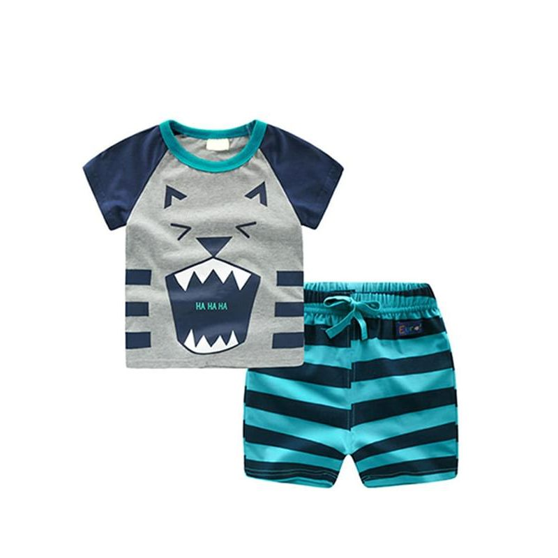 Kiskissing 2-piece Outfit Set Cotton Cartoon tiger Tee Striped Shorts for Toddlers Boys wholesale childrens clothing
