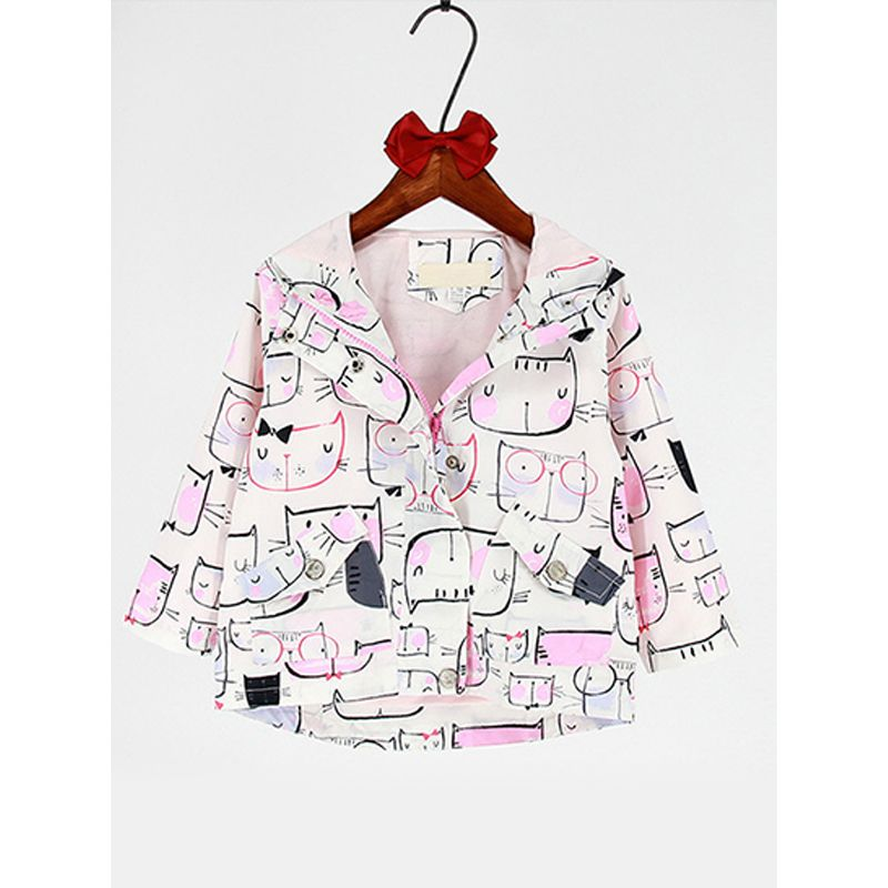 Kiskissing Cats Printed Long-sleeved Windproof Warm Hooded Coat for Toddlers Girls the obverse side wholesale kids clothing