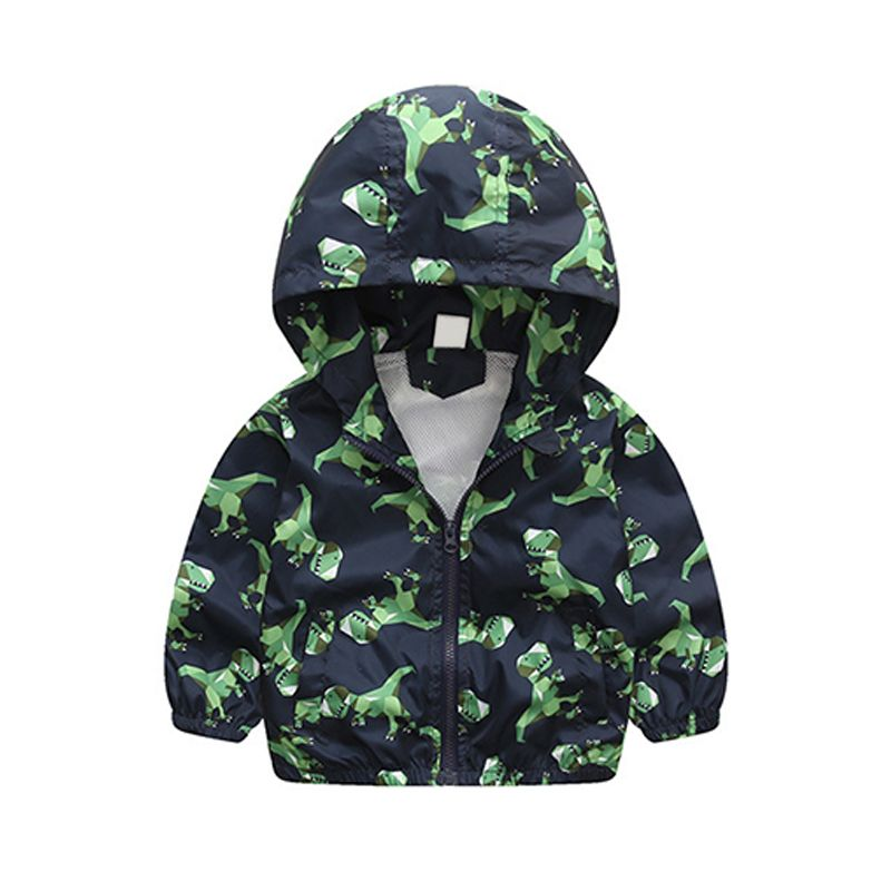 Kiskissing Dinosaurs Printed Zip-up Windproof Hooded Mesh Coat Jacket for Toddlers Boys the obverse side wholesale boys clothing