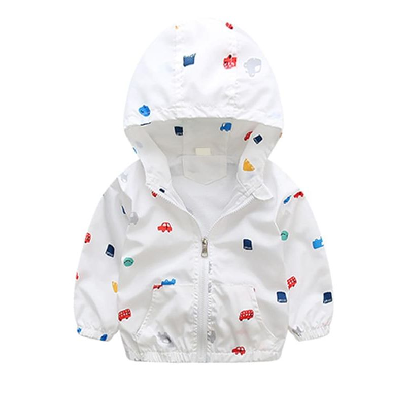 Kiskissing white Cartoon Cars Printed Hooded Jacket Coat Zip-up for Toddlers Boys kids clothing wholesale suppliers the obverse side