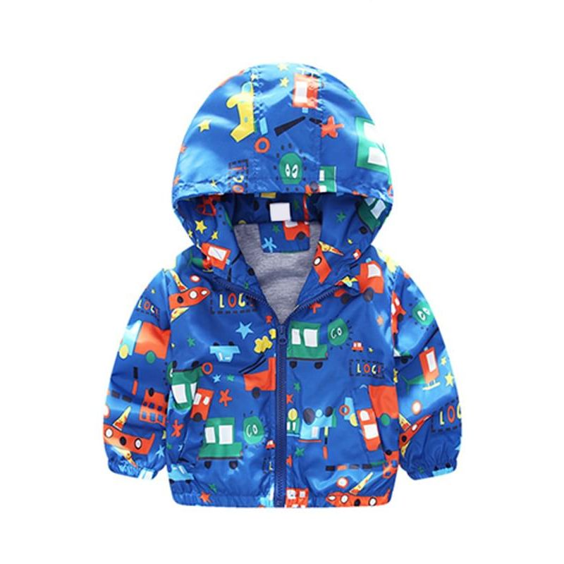 Kiskissing blue Cartoon Vehicle Printed Hooded Cotton Lining Jacket Coat Zip-up for Toddlers Boys the obverse side wholesale toddler clothing suppliers