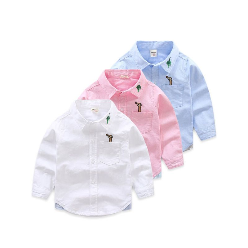 Kiskissing Embroidered Cotton Long-sleeved Shirt Top for Toddler Boys wholesale childrens clothing blue pink & white colors available