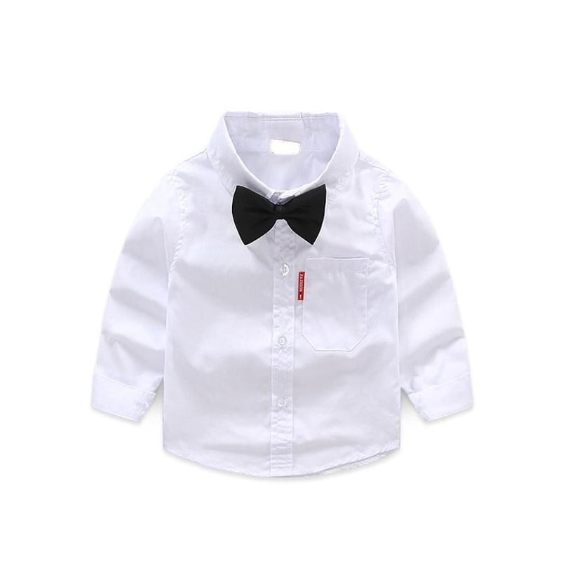 Kiskissing White Cotton Long-sleeved Shirt Top with bow tie for Toddlers Boys the obverse side wholesale boys clothing