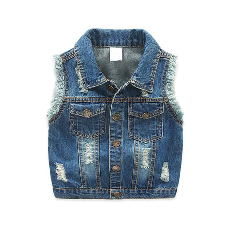 Cool Denim Sleeveless Vest Waistcoat Top for Toddlers Boys