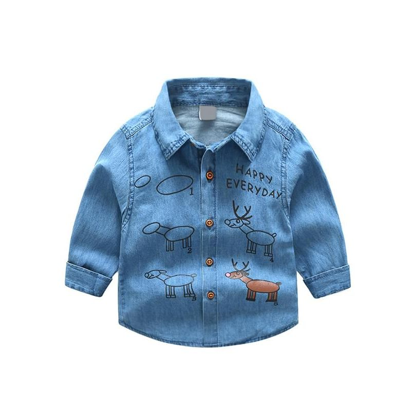 Cartoon Printed Long-sleeved Cotton Shirt Top for Toddlers Boys