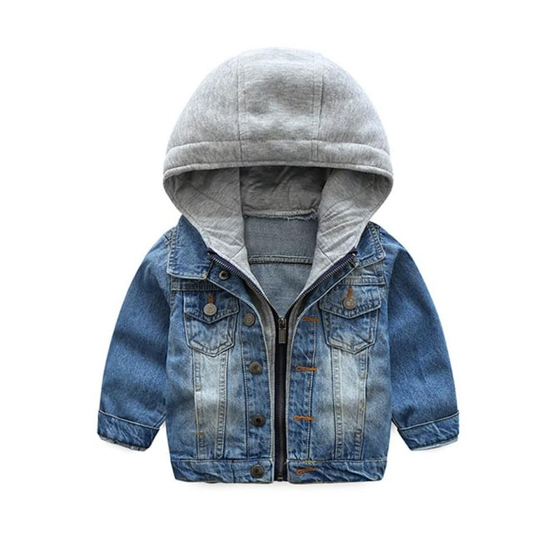 Kiskissing Cool Hooded  Denim Coat Jacket Zip-up for Toddler Boys the obverse side wholesale boys clothing