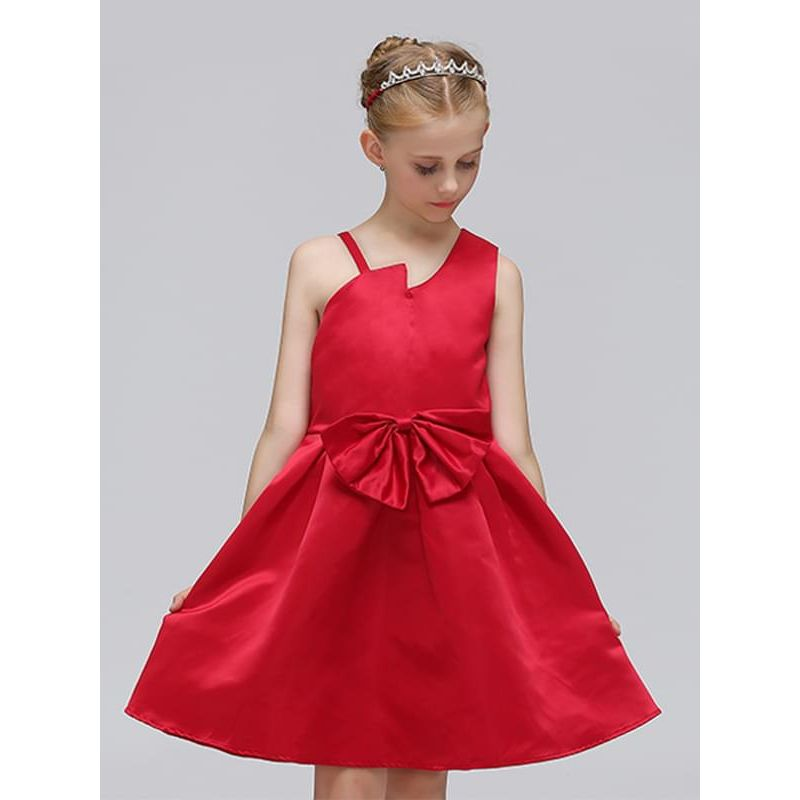 Kiskissing red One-shoulder Solid Color Bow Princess Party Dress for Toddlers Girls the model show trendy toddler clothes wholesale