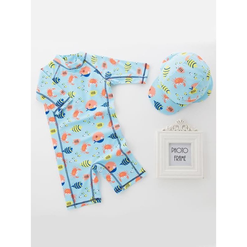 Kiskissing 2-piece Fish Printed Swimwear Set Jumpsuit Hat for Toddlers Boys wholesale boys clothing