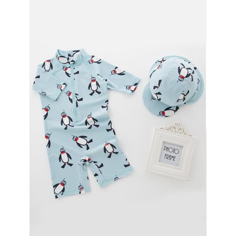 Kiskissing 2-piece Penguin Printed Swimwear Set Jumpsuit Hat for Toddlers Boys wholesale kids swimwear