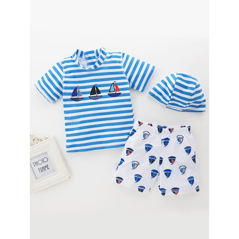 Kiskissing 3-piece Boats Printed Striped Swimwear Set Hat Top Shorts for Toddlers Boys the obverse side wholesale kids swimwear