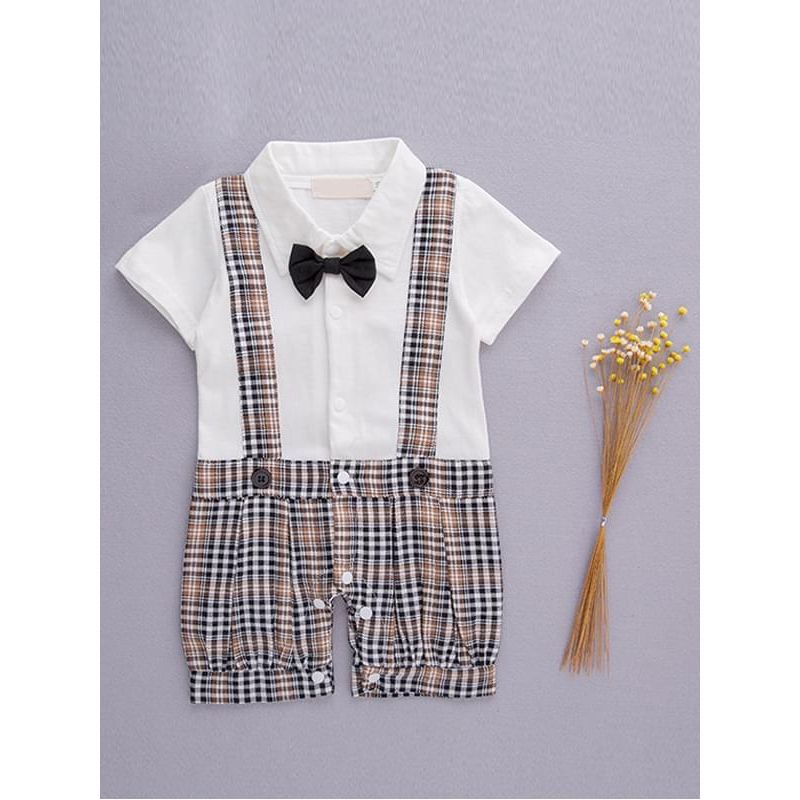 Kiskissing white One-piece Romper Jumpsuit Straps Bow-tie Party Wear for Baby Boys the obverse side wholesale kids clothing