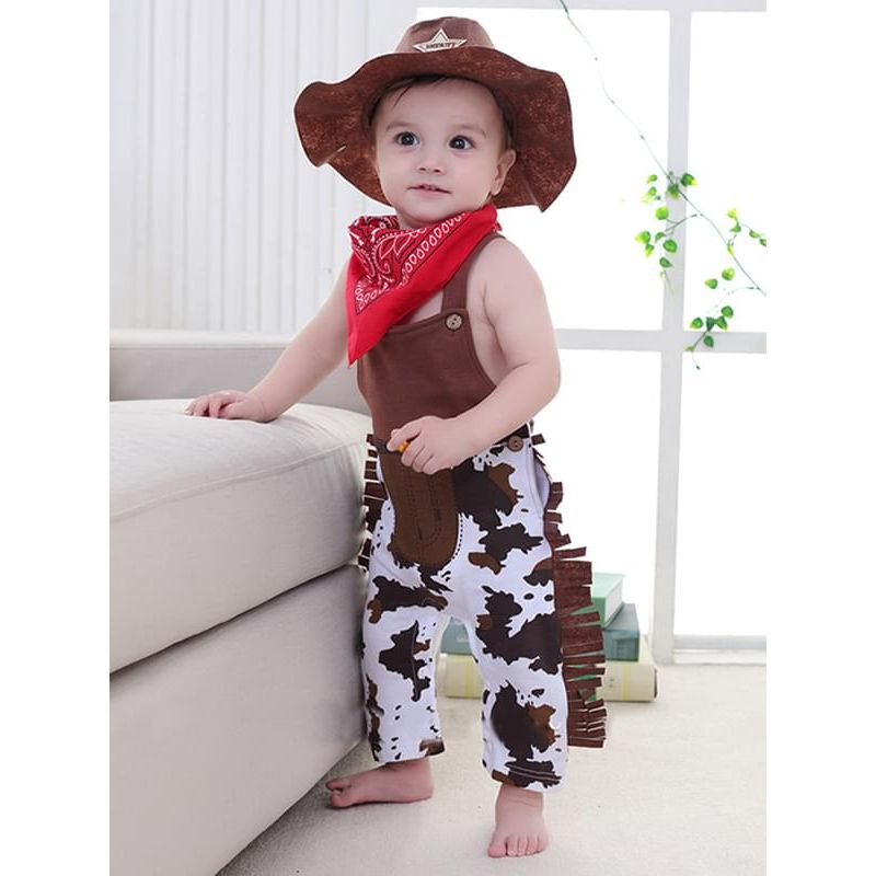Kiskissing 2-piece Cowboy Romper Bib Set Strapped Jumpsuit Overalls Party Wear for Baby Boys the model show wholesale kids boutique clothing