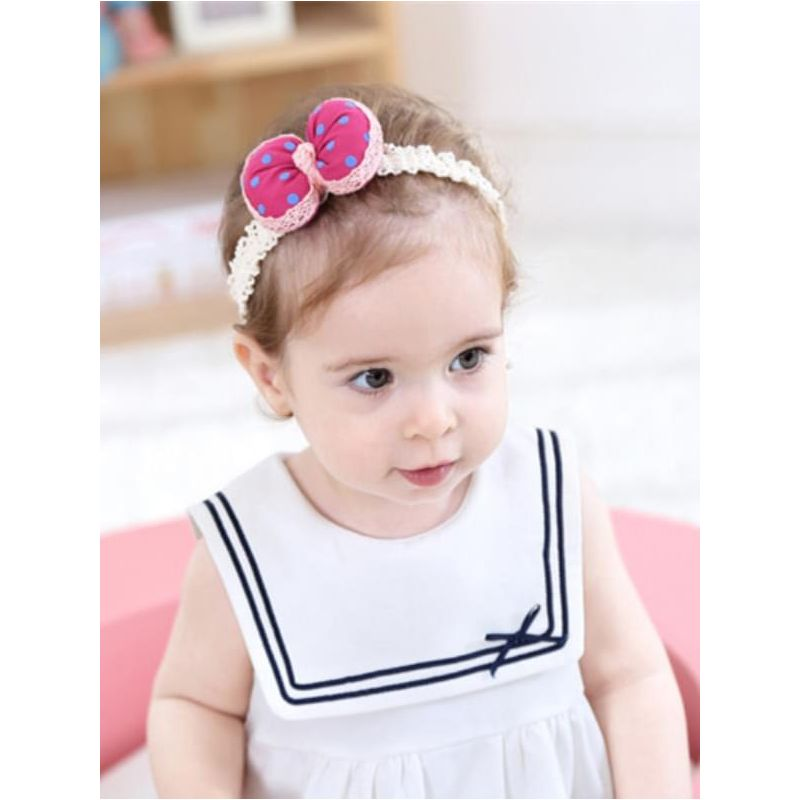 Kiskissing rose Cute Cloth Bowknot Headband for Baby Girls the model show wholesale baby accessories