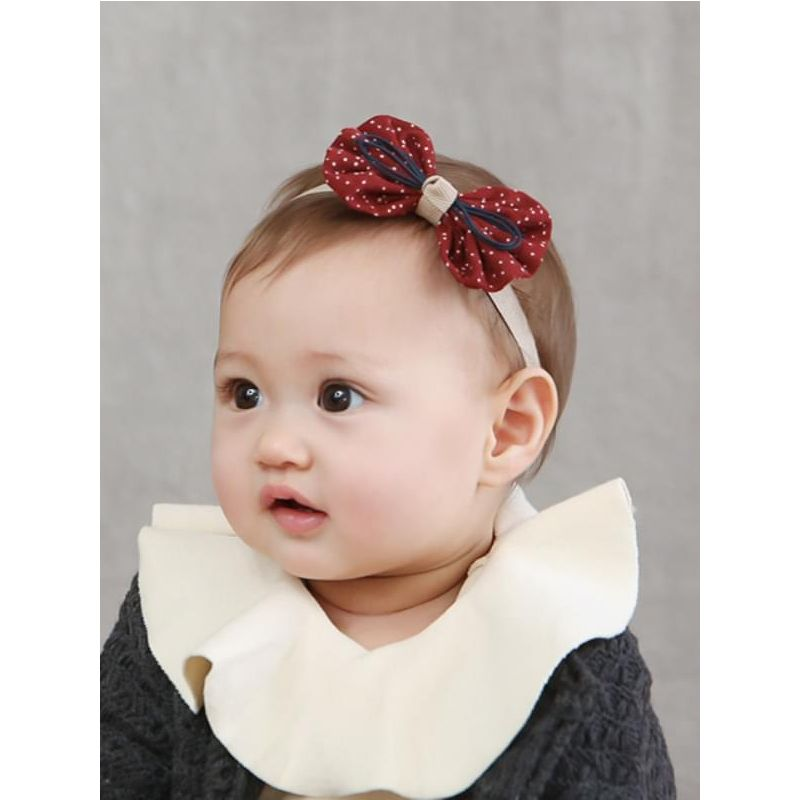 aa77de80129 Kiskissing red Cute Cloth Dots Printed Bowknot Headband for Newborn Baby  Girls the model show wholesale
