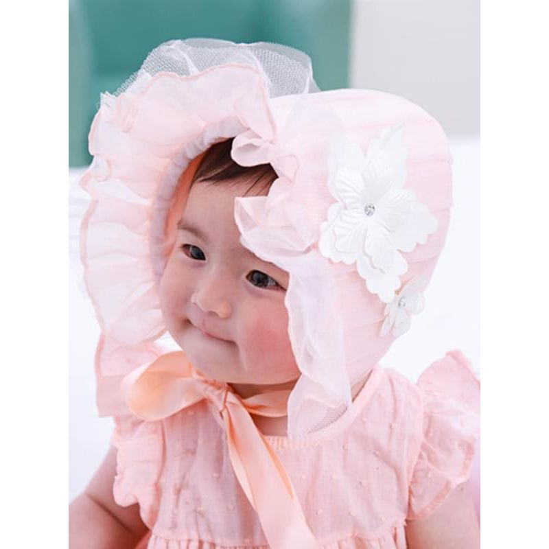 Kiskissing Solid Color pink Straps Jacquard Lace Cotton Windproof Sunhat for Baby Girls the model show wholesale baby accessories
