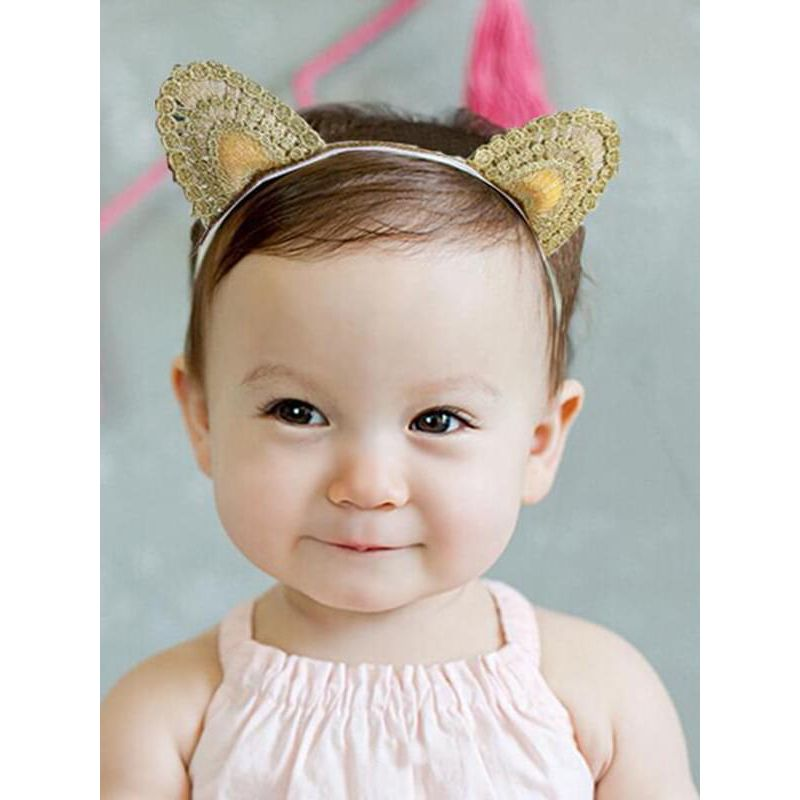 Kiskissing Cute Cat-ears Pattern Elastic Headband for Baby Toddler Girls the model show wholesale baby accessories