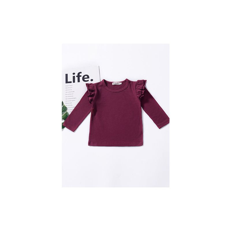 Solid Colour Flutter Long Sleeve T-shirt Top Homewear for Baby Toddler Girls Pullover