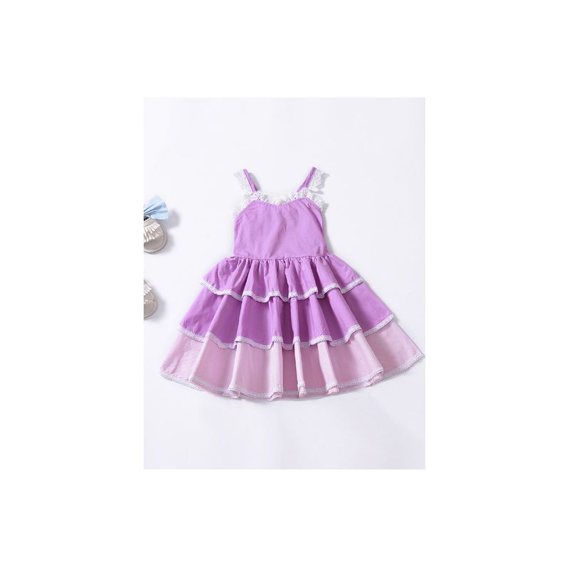 Cute Pierced Lace Suspender One-Piece Layered Dress White Trimming for Baby Toddler Girls Kids Summer Dress