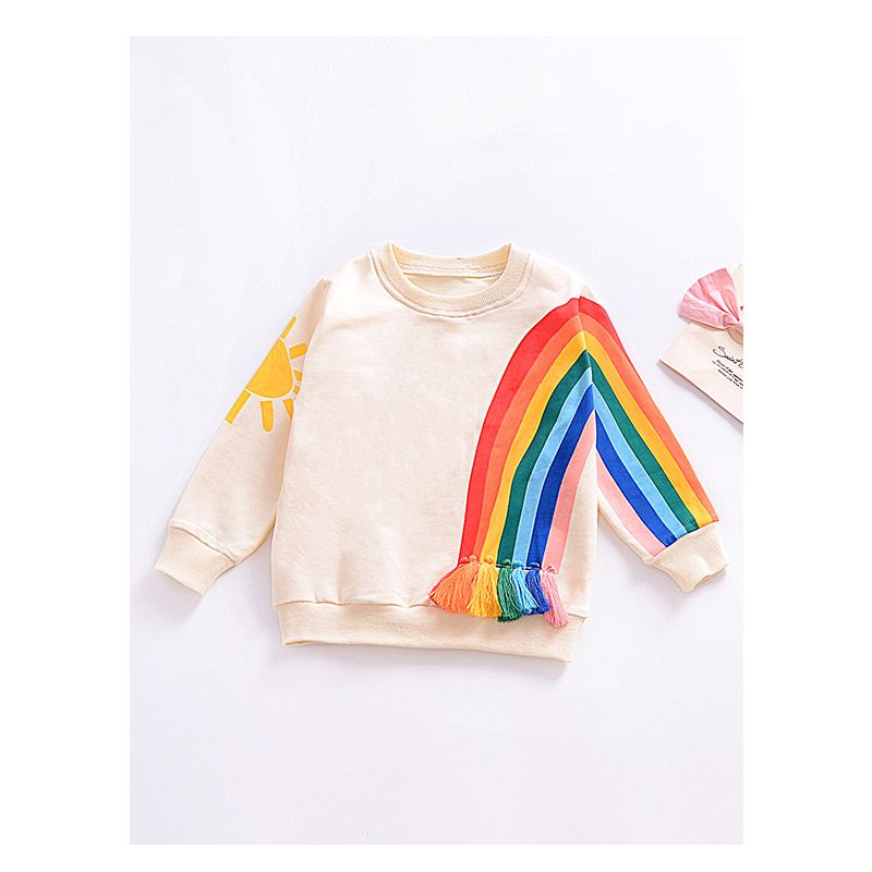Cute Rainbow Print Tassel Trimmed(Option) Long Sleeve T-shirt Top Baby Toddler Girls Hoodie Kids Sportwear for Fall