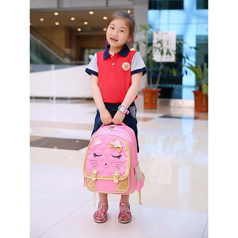 Kiskissing Cute pink Big Size 3-inner-pocket Waterproof Wear-proof Schoolbag  for Primary School Girls the model show wholesale childrens accessories