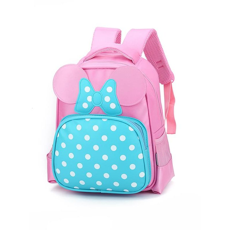 Kiskissing Cute pink Spots Bow-knot Breathable Wear-proof Schoolbag Backpack for kindergarten Girls wholesale childrens accessories