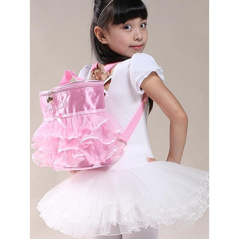 Kiskissing Satin Fabric Cute Portable Pink Ruffled Ballet Dancing Training Backpack for Girls the model show wholesale children's accessories