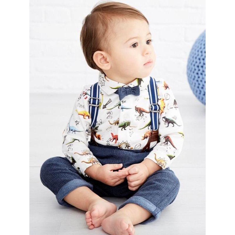 Kiskissing 3-piece Cartoon Dino Print Romper Set Long-sleeve Romper Top Pants Overalls  Bow-tie for Baby Boys the model show kids wholesale clothing set