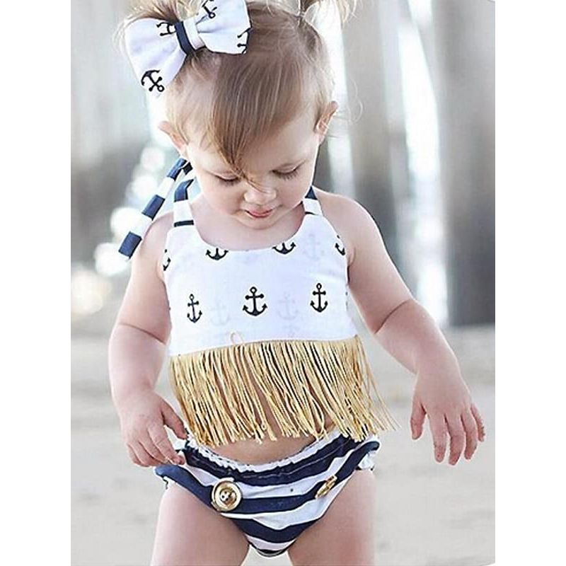Kiskissing Sailing Anchors Style Fringed Swimwear Top Shorts Set for Toddlers Girls the model show wholesale children's boutique clothing suppliers