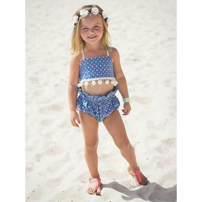 Kiskissing Dots Printed Blue Strapped Beach Wear Top Shorts Set Milk Fiber for Baby Toddler Girls the model show wholesale baby clothes