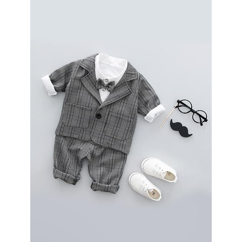 Kiskissing 3-piece Formal Style Plaid Cotton Boy Suit Sets Top Shirt Pants for Baby Toddler Boys wholesale toddler clothing