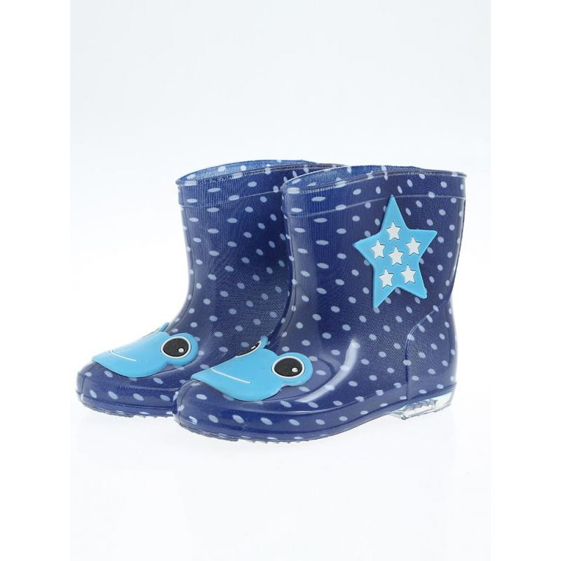 Kiskissing Cute deep blue Cartoon Style Anti-skid Rain-shoes Rain-boots for Kids wholesale childrens shoes